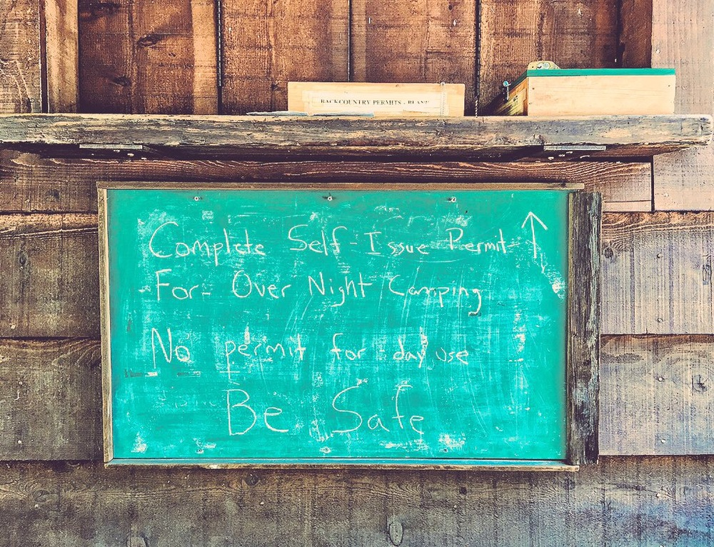 Cautionary notes from the park service at backcountry trailheads. :)