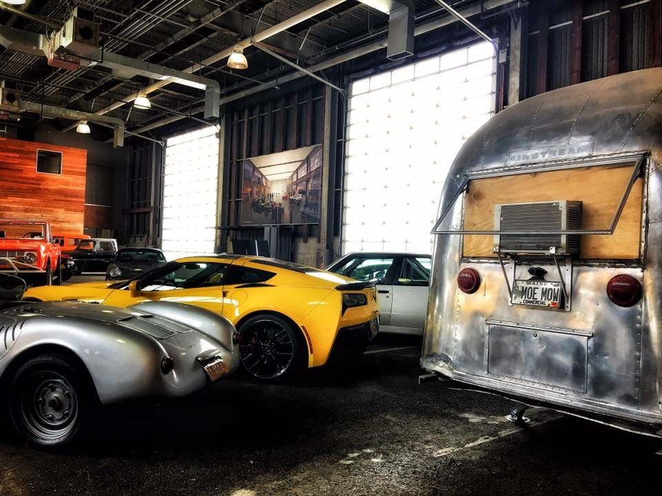 Vintage Airstream-turned-office and some McLaren's at the Classic Car Club in Manhattan.
