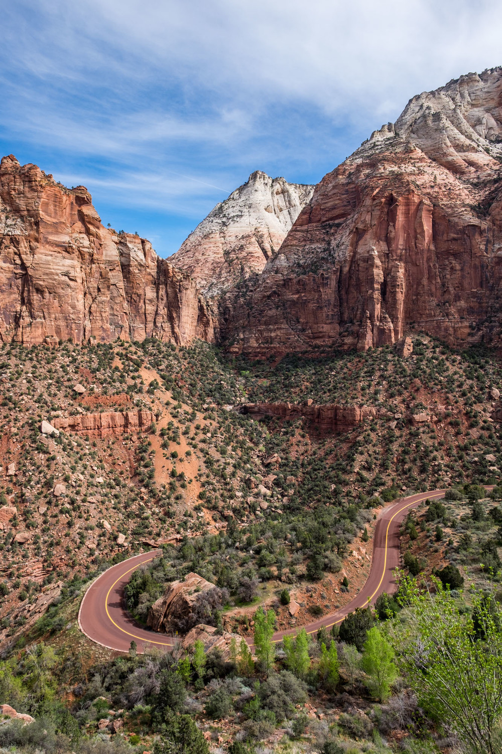 A shot taken just beyond the tunnel, looking down on the Zion Valley.