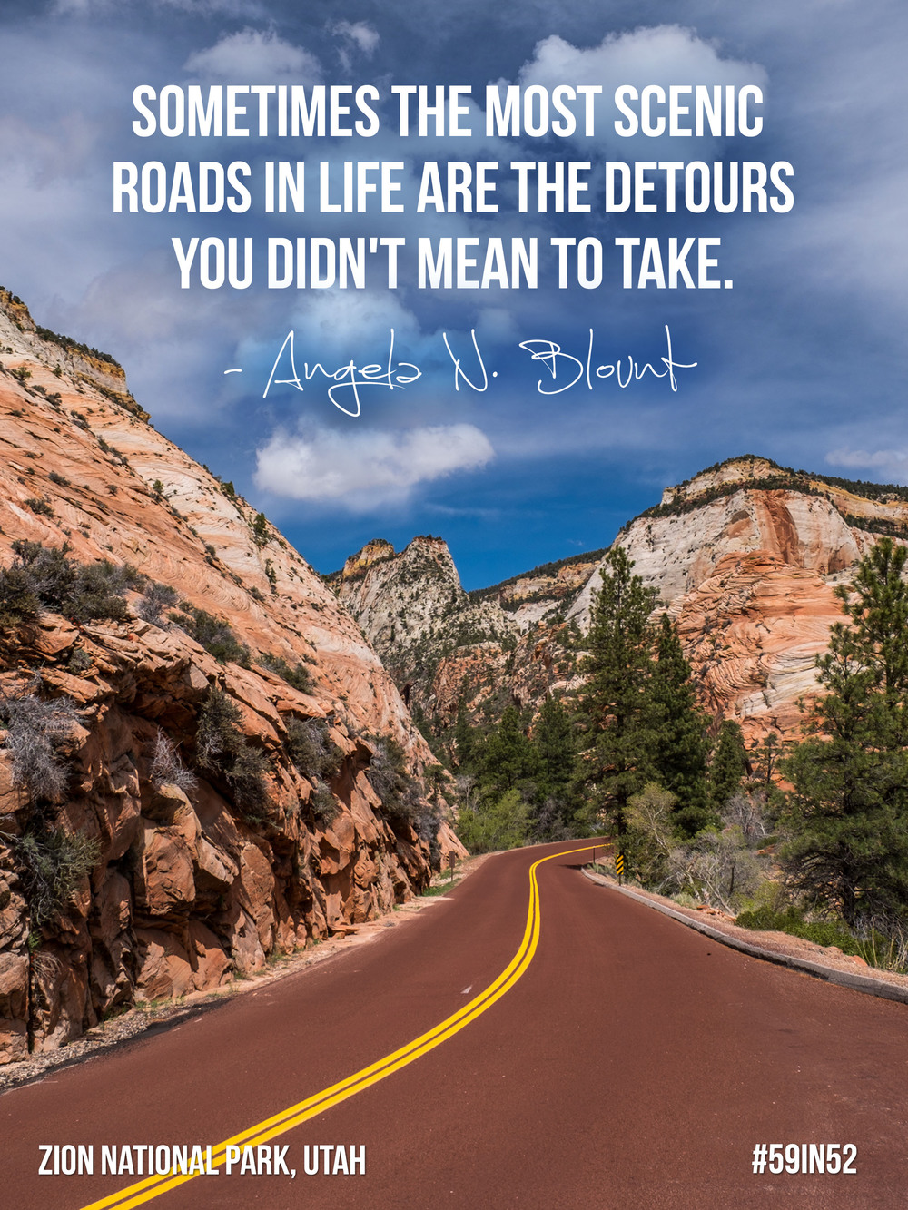 """Sometimes the most scenic roads in life are the detours you didn't mean to take."" - Angela N. Blount"