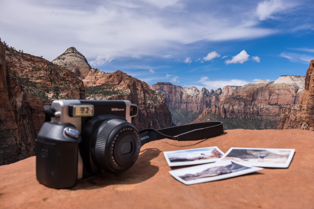 Fujifilm Instax-ing in Zion National Park in southern Utah.