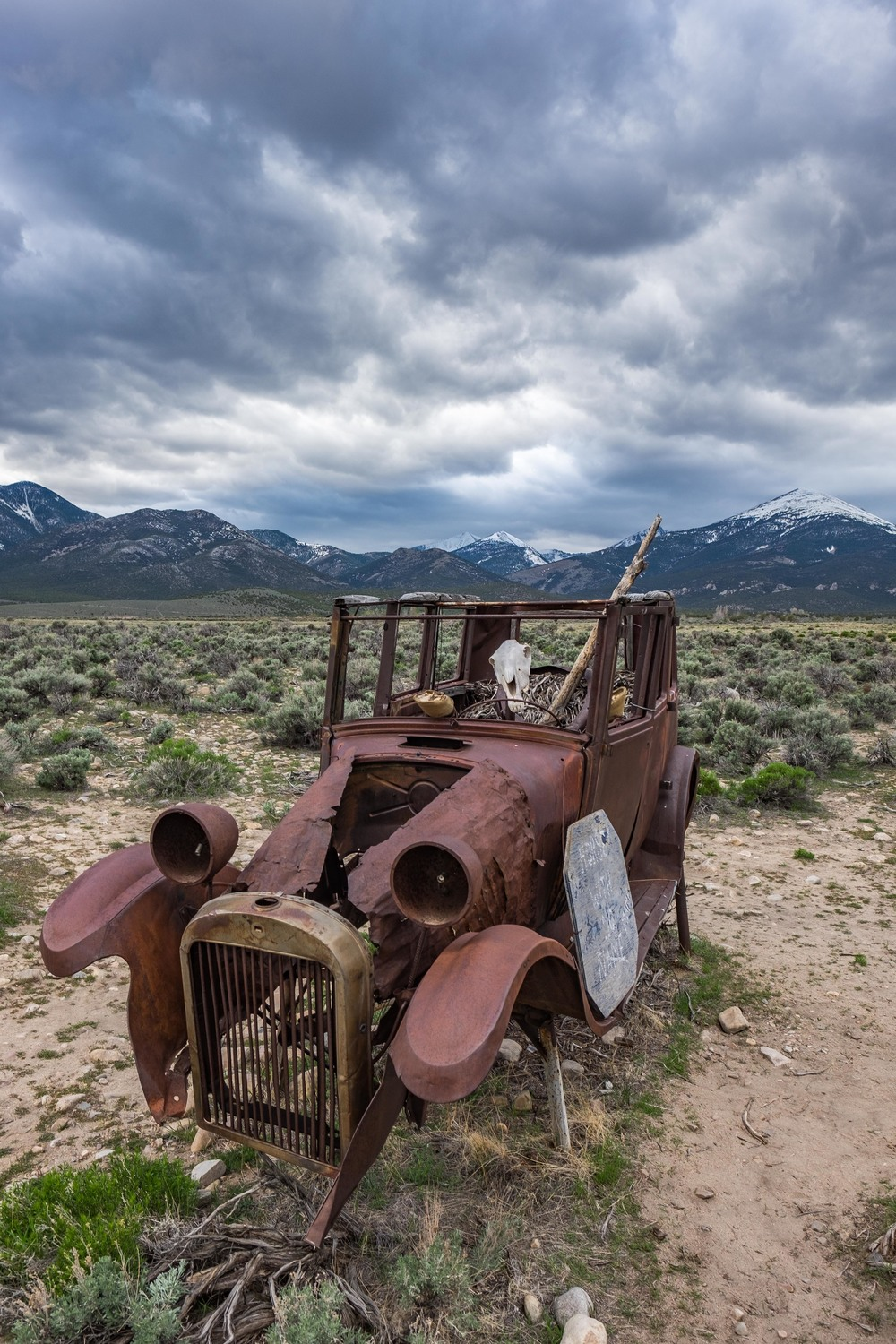 "A rusted out old car and ""the horse with no mane."" Local legend goes that the horse head skeleton is stolen from time to time and when that happens it is replaced by good stewards of the area."