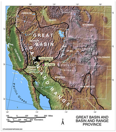 This Great Basin / Basin and Range map shows that the Great Basin area in the U.S. is shaped like a heart. <3 (Credit: National Park Service)