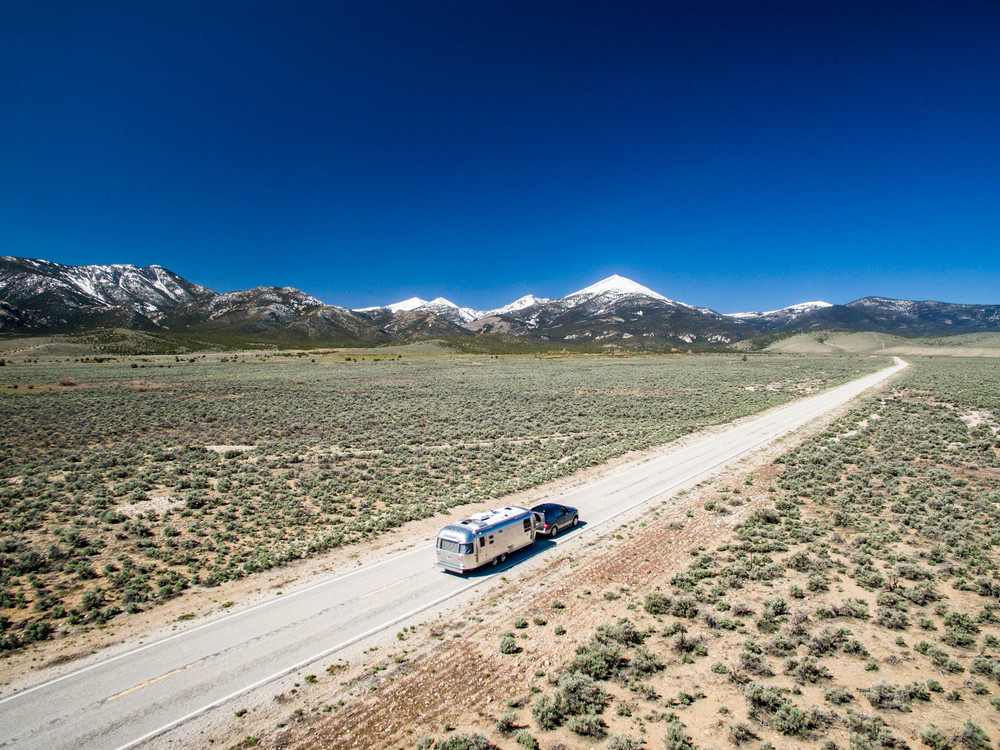 An aerial shot of Wally the Airstream en route to Great Basin National Park in eastern Nevada.