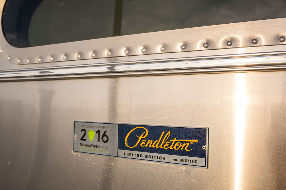 The Limited Edition National Parks Pendleton Airstream seal shows that this is one of a collection of only 100 made.