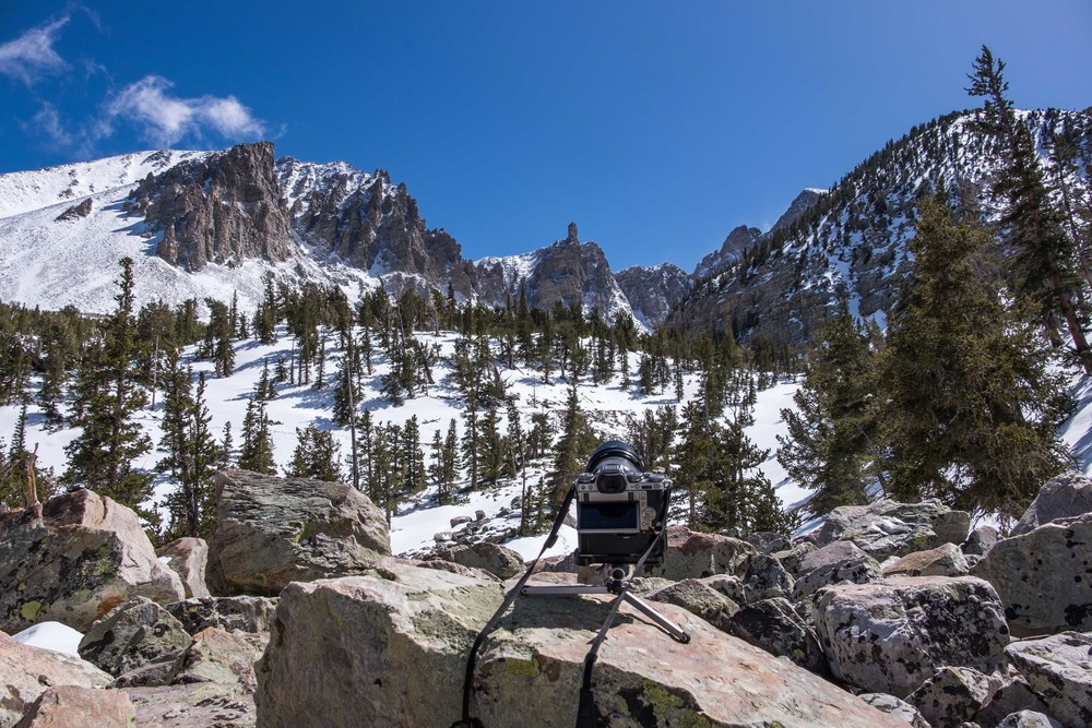 All set up for timelapse near Wheeler Peak at Great Basin National Park in Nevada.