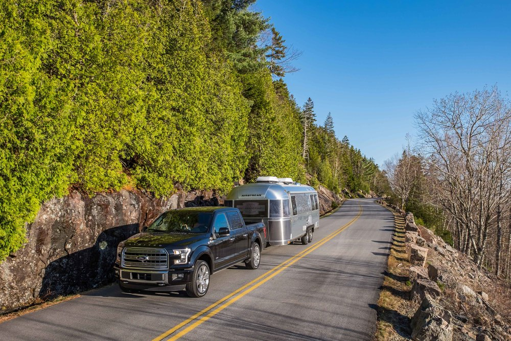 The Pendleton Limited Edition National Parks Airstream and an all-muscle Limited Ford F-150 truck in Acadia National Park in Maine.