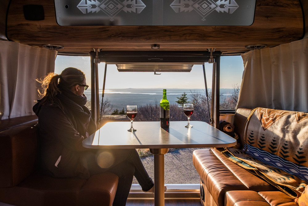 Catching the sunset atop Cadillac in the Pendleton Limited Edition National Parks Airstream in Acadia National Park in Maine.