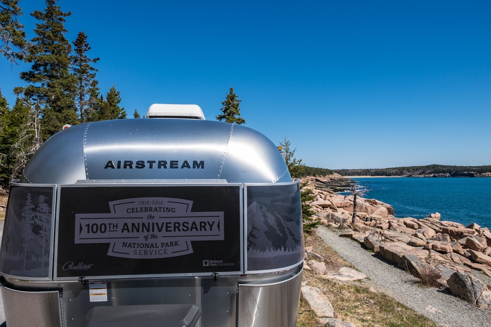 The Pendleton Limited Edition National Parks Airstream in Acadia National Park in Maine.