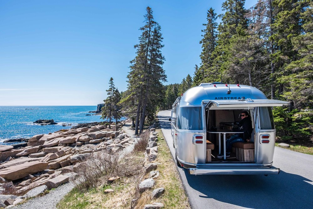 The Pendleton Limited Edition National Parks Airstream in Acadia National Park.