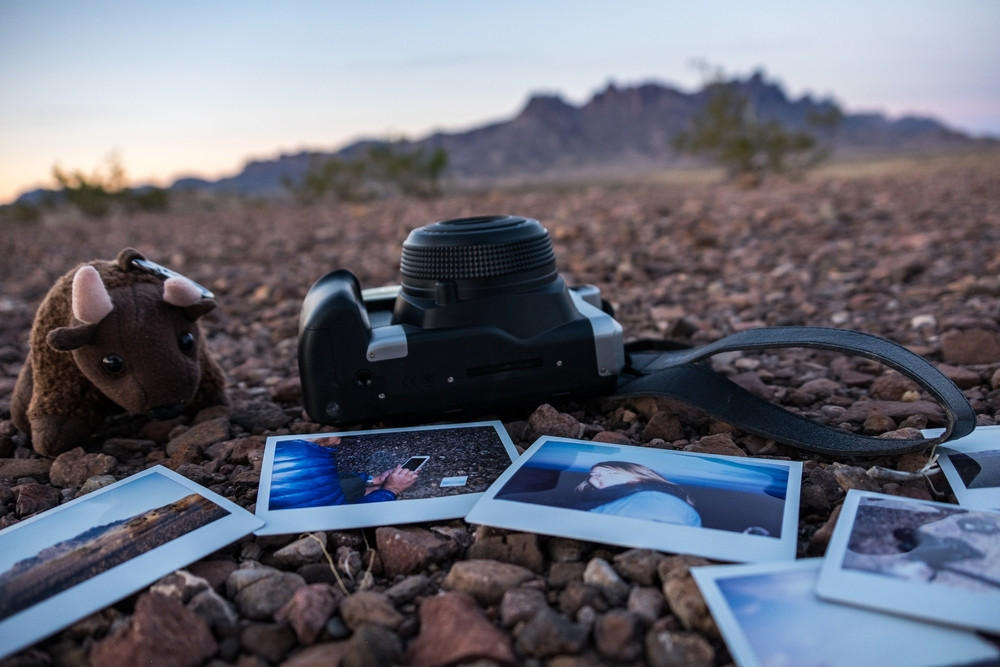 Merchandising my Instax Wide in Big Bend National Park in Texas.