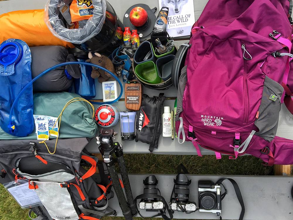 Geared up with Mountain Hardwear, Fujifilm XT-1 and Instax Cameras, Really Right Stuff Tripods, REI gear, Backpackers Pantry food, Bear Cans, salty foods, fruit, reading, playing cards, and...