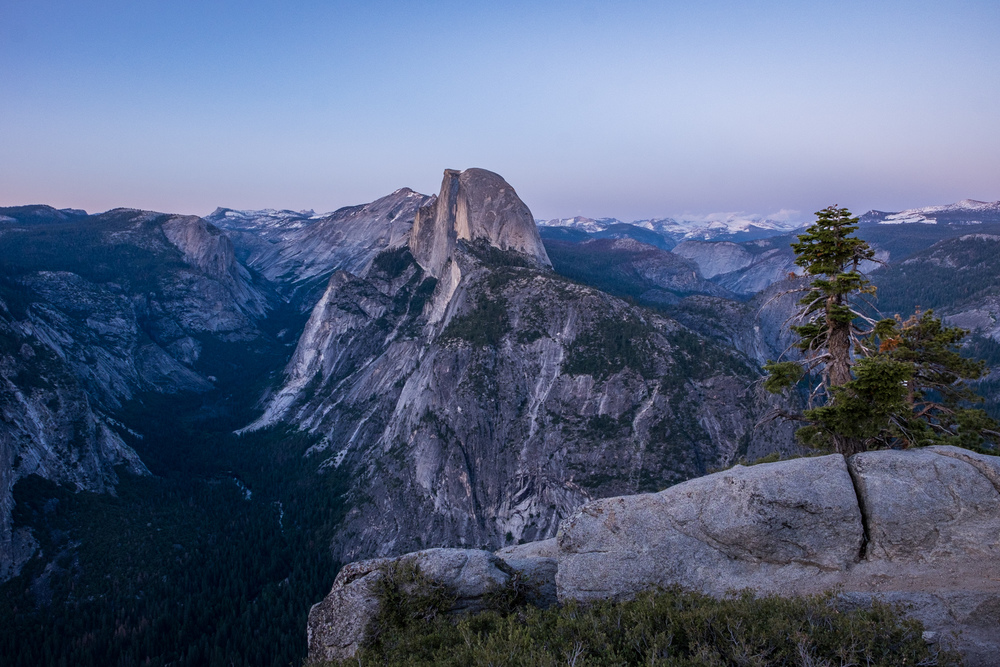 A view of Half Dome from Glacier Point, just after sunset.