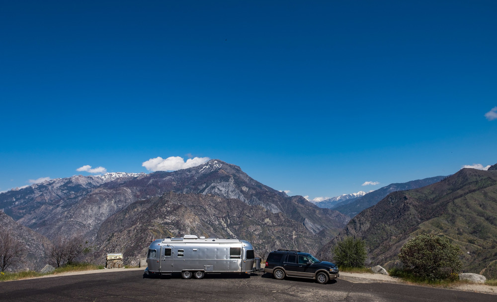 Wally the Airstream en route to Kings Canyon National Park.