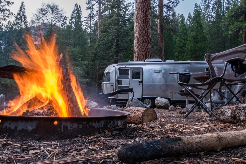 The fire safely rages at the Sentinel Campground at Kings Canyon National Park in California.
