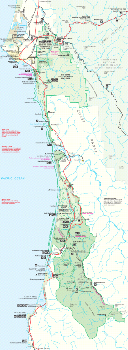 Map of Redwood National and State Parks. ( Click to enlarge .)