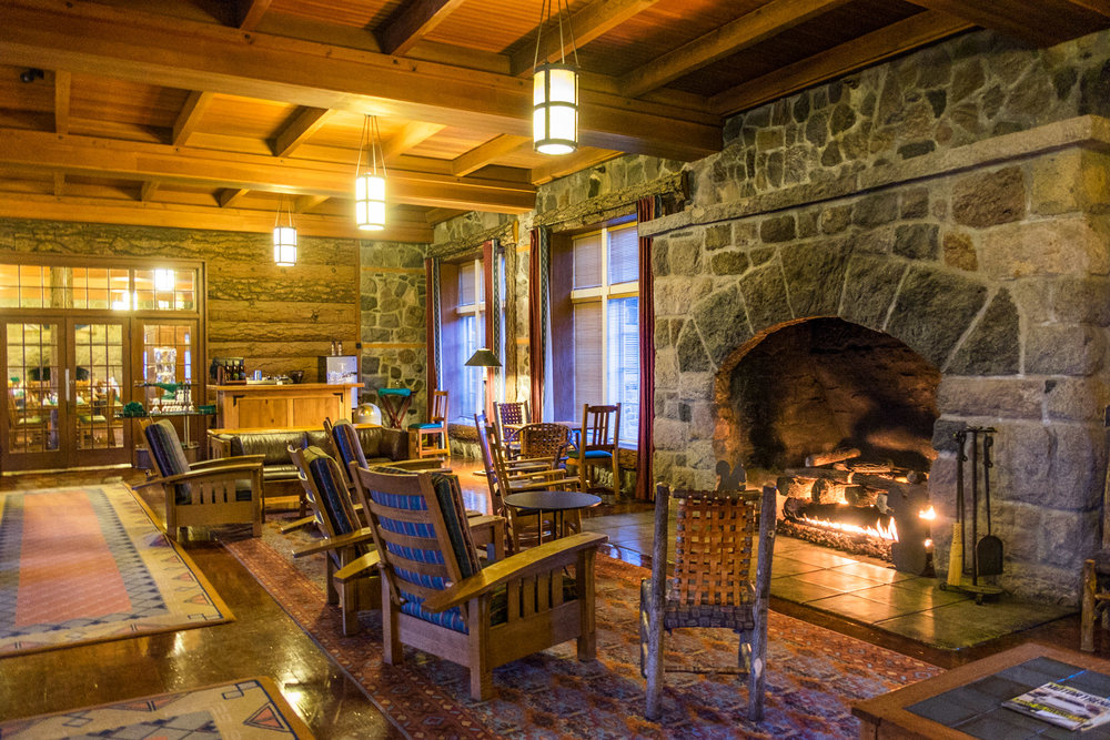 The Great Hall at the Crater Lake Lodge. Crater Lake National Park, Oregon.