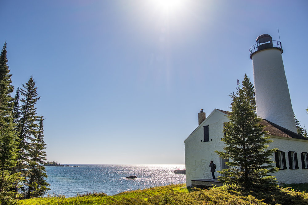 The oldest lighthouse on the island, the Rock Harbor Lighthouse, built in 1855.