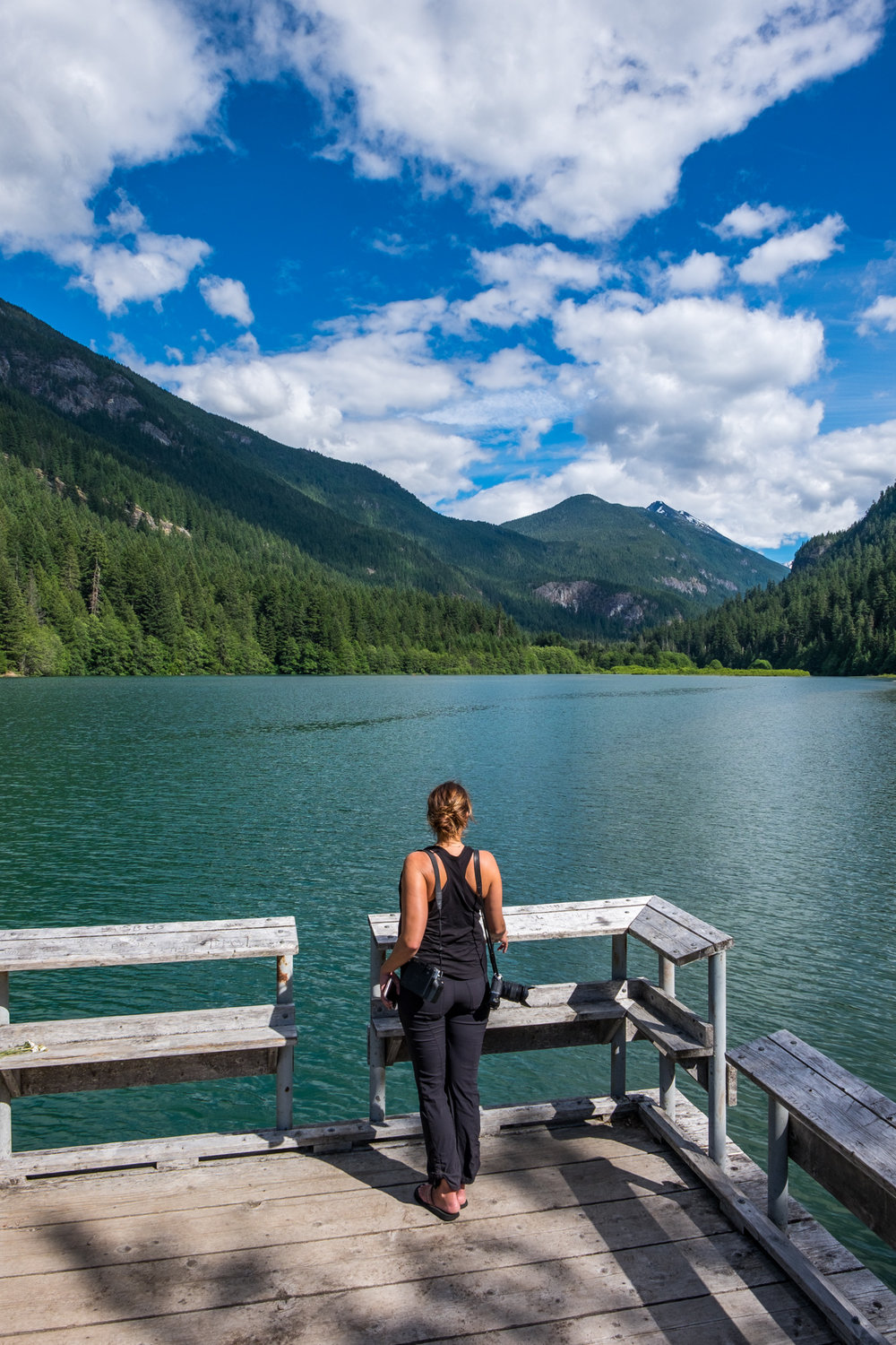 Stef checking out Diablo Lake from the Colonial Creek Campground dock.