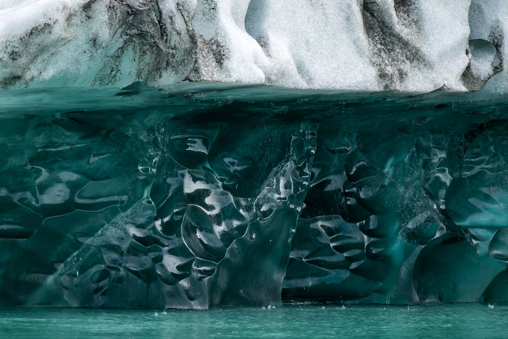 Glacial ice is dynamic, artful, and incredibly photogenic as can be seen in this photo taken on our outing with Fairweather Adventures out of Gustavus.