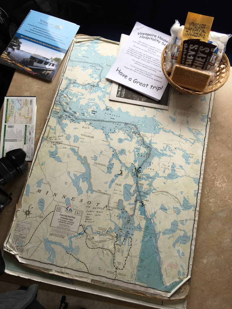 Maritime planning on our Voyagaire Houseboat in Voyageurs National Park in Minnesota.
