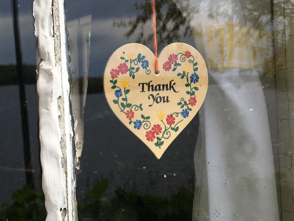 A simple Thank You on the wall of the Bangsund Cabin in Isle Royale National Park in Michigan.