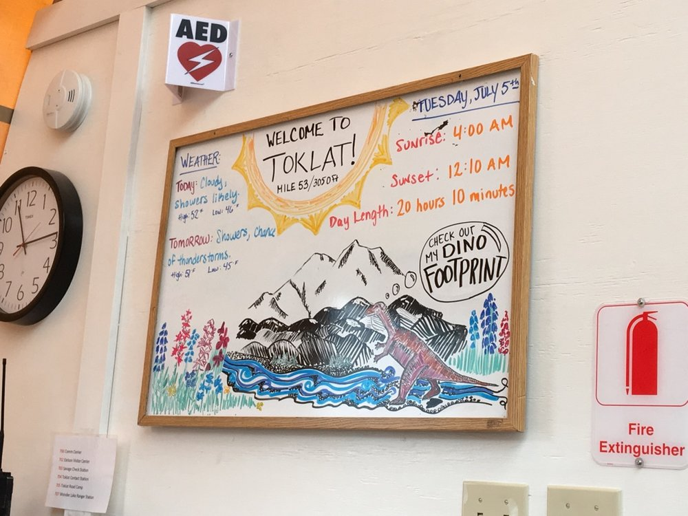 White board updates in Denali National Park.