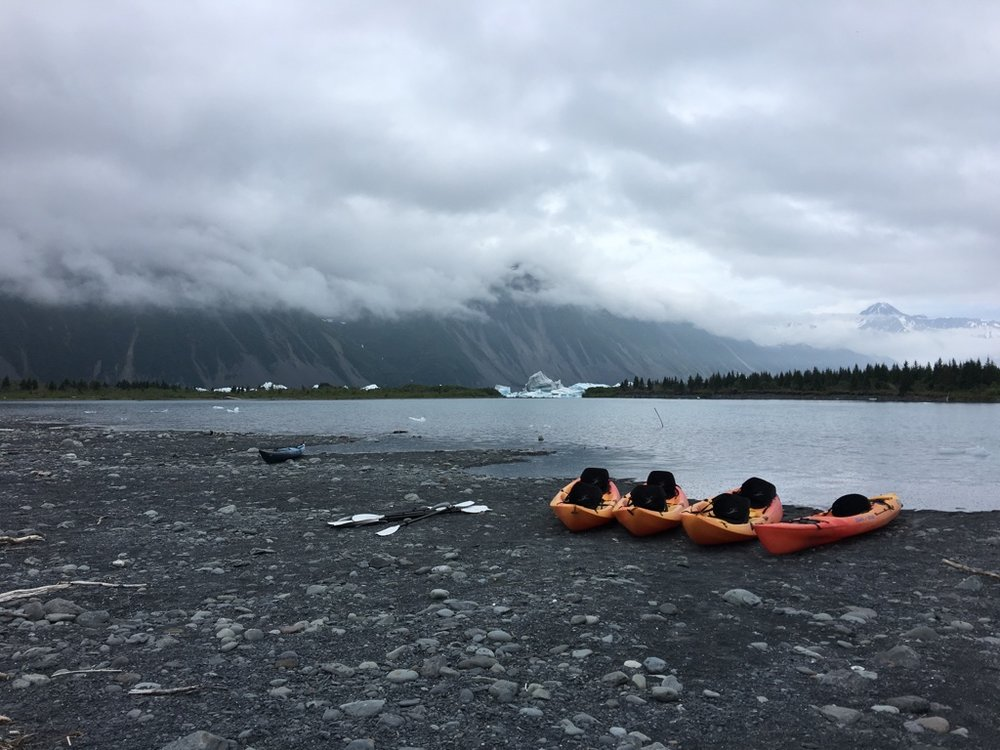 Paddling setup in Kenai Fjords National Park in Alaska.