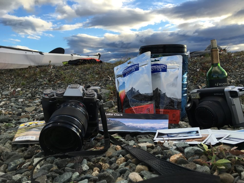 Backpackers Pantry, wine, Fujifilm Cameras... beach picnic in Alaskan backcountry.
