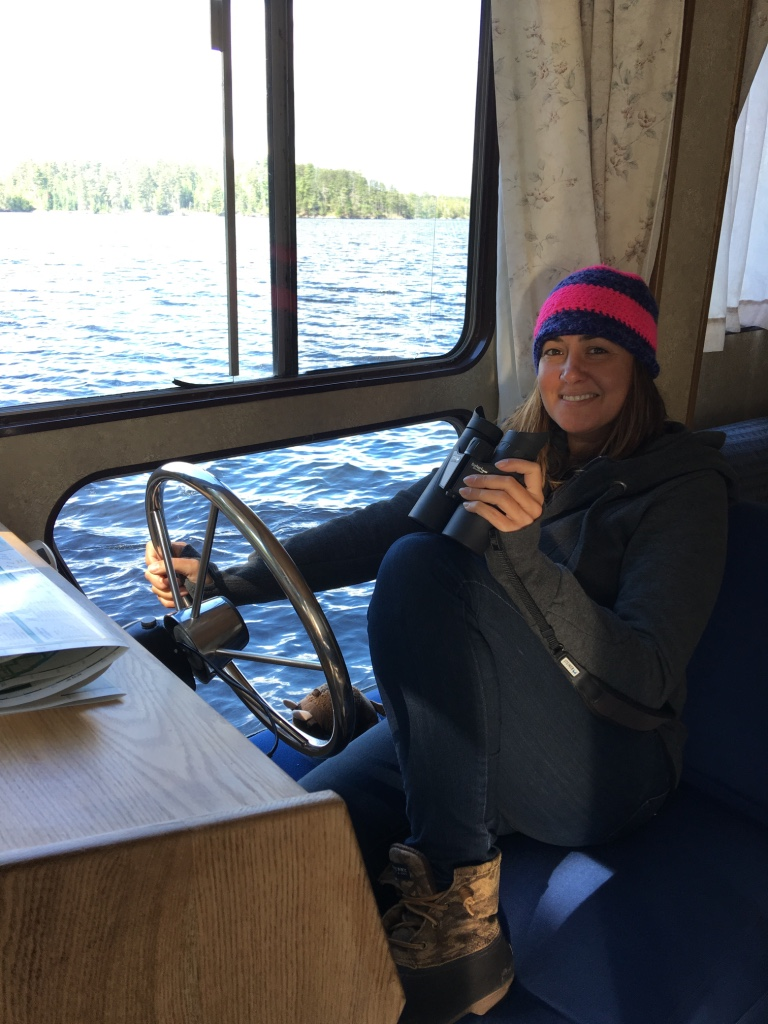 Stef captains the houseboat in Voyageurs National Park in Minnesota.