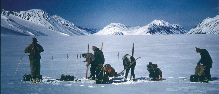 In 1968 a party of seven made the first documented traverse of the Harding Icefield. Traveling west to east on skis and snowshoes, the party made the crossing in seven days, completing their traverse at the appropriately named, Exit Glacier. NPS / Dave Spencer
