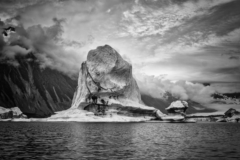 Some black and white fun with the icebergs.