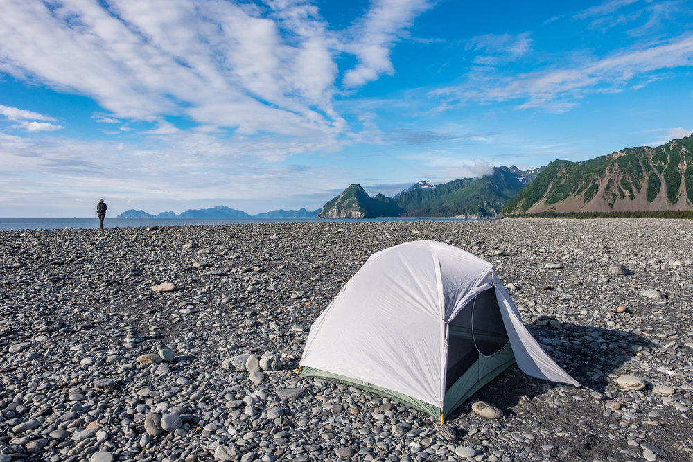 Our Mountain Hardwear Ghost Sky 3 tent set up for the night atop a moraine near Bear Glacier in the Kenai Fjords... it was a champion again, as it has been for the duration of this Great American Road Trip.