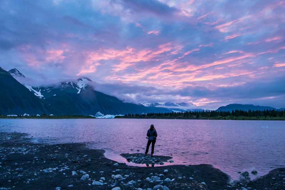 A rare pink sky explodes at night near Bear Glacier in the Kenai Fjords, just following dinner and a long day of paddling through icebergs. This entire experience was surreal, challenging, eye-opening, and totally awesome.