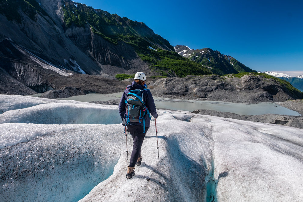 Stef forges atop the Godwin Glacier, emphatically avoiding  moulins  and  crevasses , while gaining some knowledge that would turn out to become important in future glacier exploration...