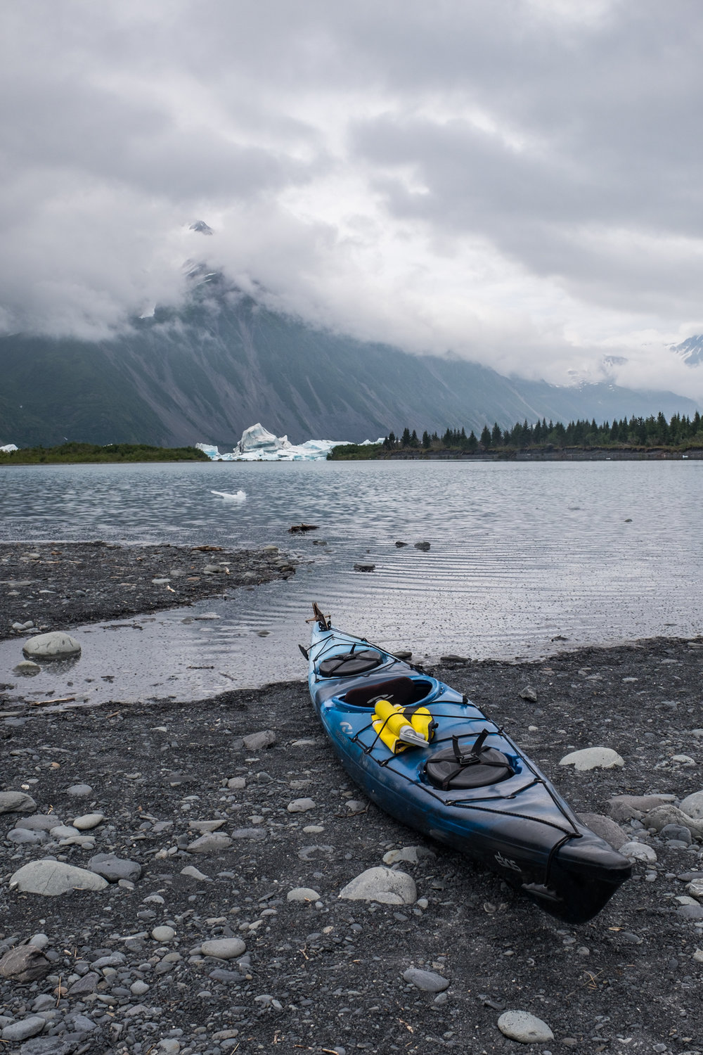 We are ready to kayak in the iceberg filled lagoon.