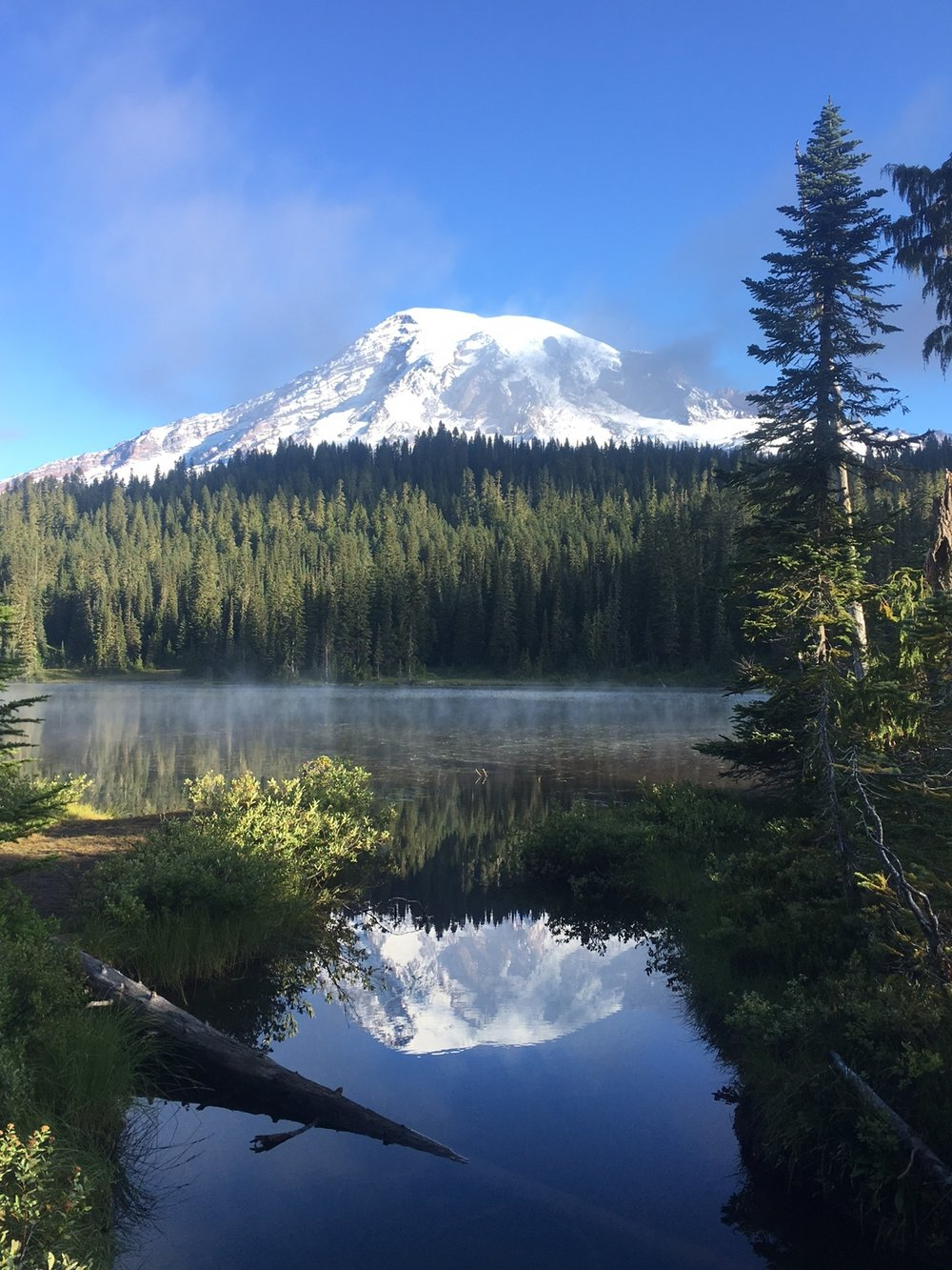 Mount Rainier reflected at Reflection Lakes in Rainier National Park in Washington State. Photo credit: Jonathan Irish