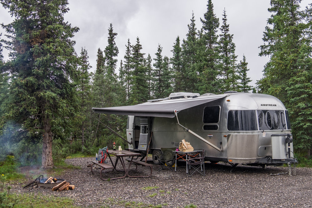 Wally the Airstream found a sweet spot in the Teklanika campground, located 30 miles in on Denali Park Road.