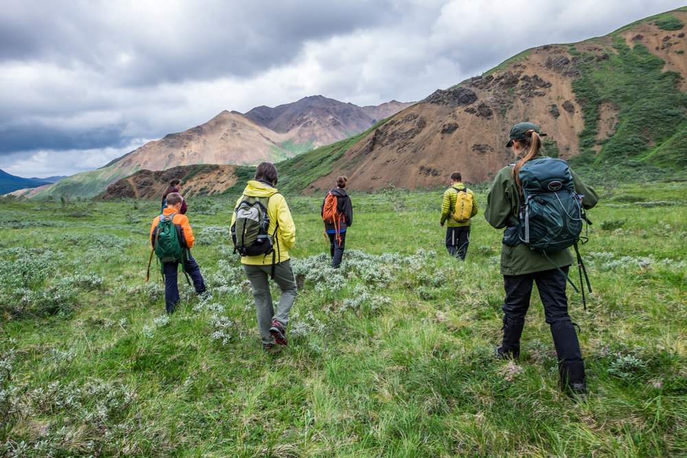 "A group of hikers set off on a ranger-led ""Discovery Hike."""