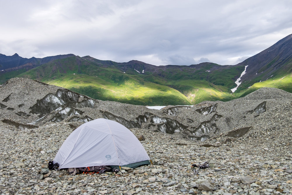 We camped on a glacial moraine on the third night.