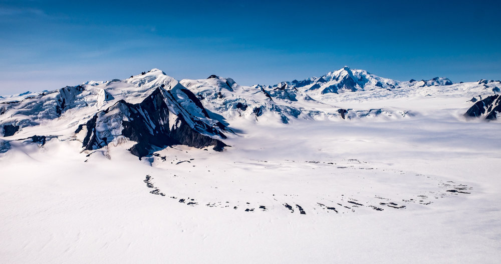 The largest sub-polar ice field in North America and one of the most distinct features in the park: The Bagley Ice Field.