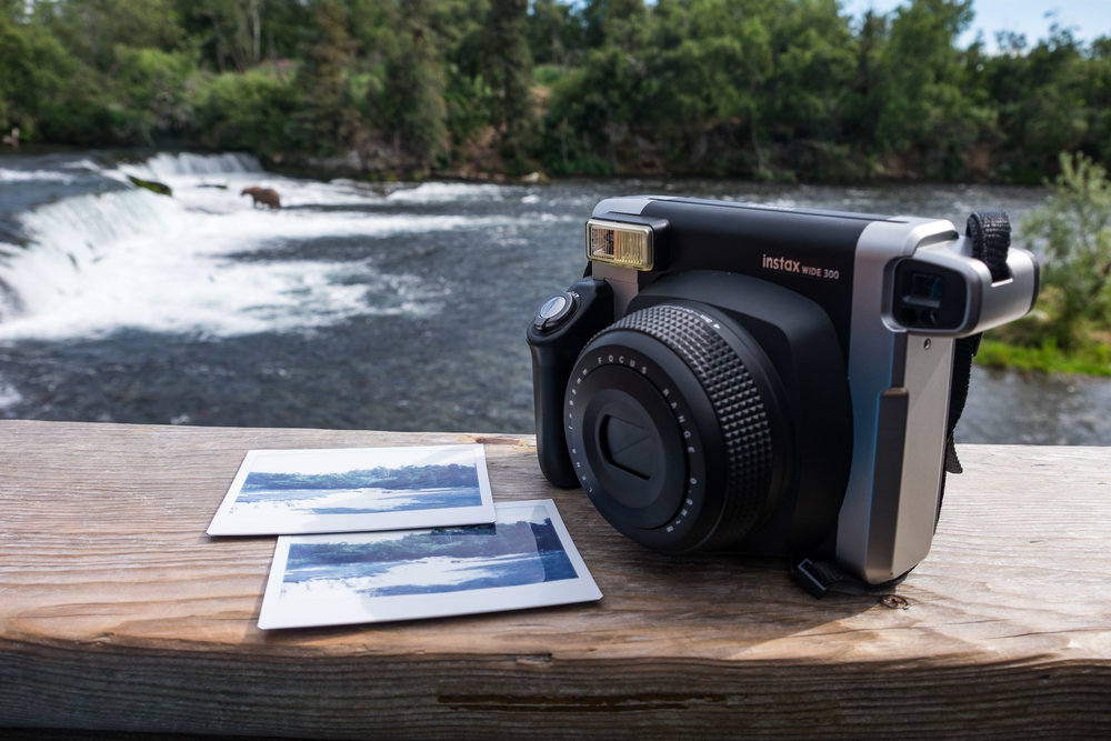 Fujifilm Instax at the legendary Brooks Falls viewing platform in Katmai National Park in Alaska.