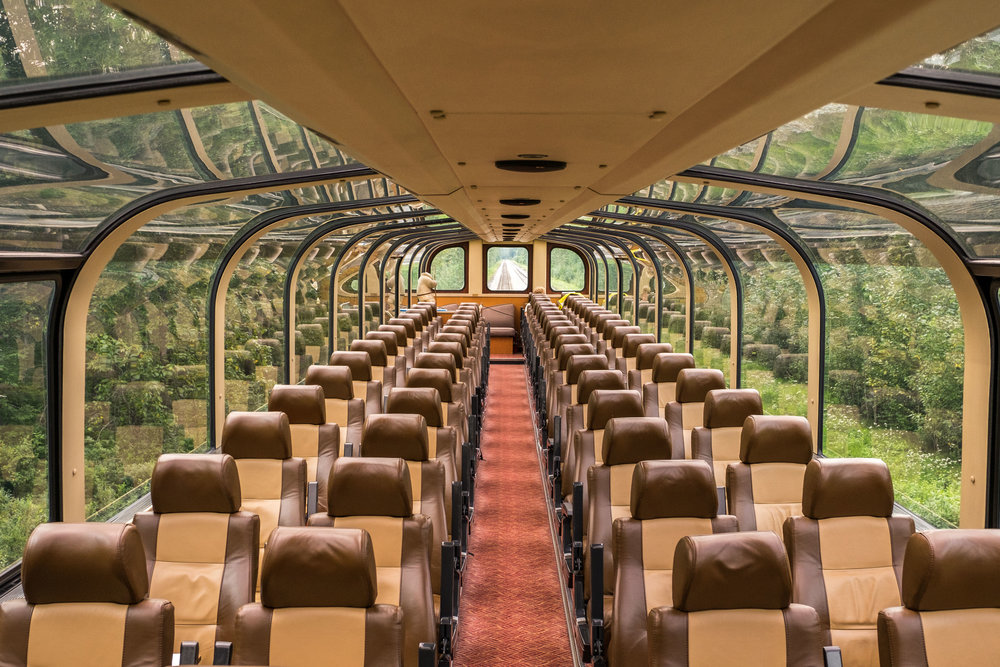 The glass ceiling dome car in the Wilderness Express Train allows for views of the Alaska wilderness in every direction.