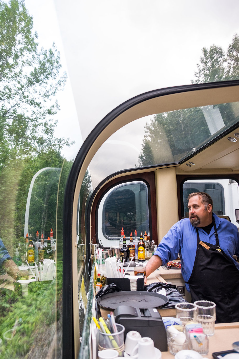 To the delight of passengers on the Wilderness Express, there is cocktail service (and an awesome staff serving it up)!