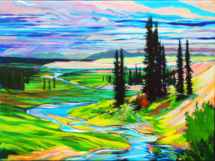 Grayling Stream by Constance Baltuck, Acrylic on canvas, 2011 Kobuk Valley National Park Artist-in-Residence. Credit: NPS