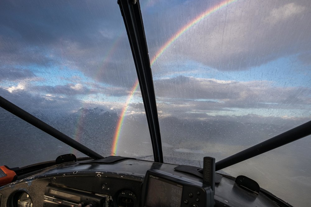 It started to rain and we actually flew through a double rainbow.