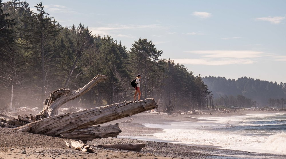 Our good pal Jen hops on a massive piece of driftwood to have a better look at the amazing Pacific Ocean at Rialto Beach.