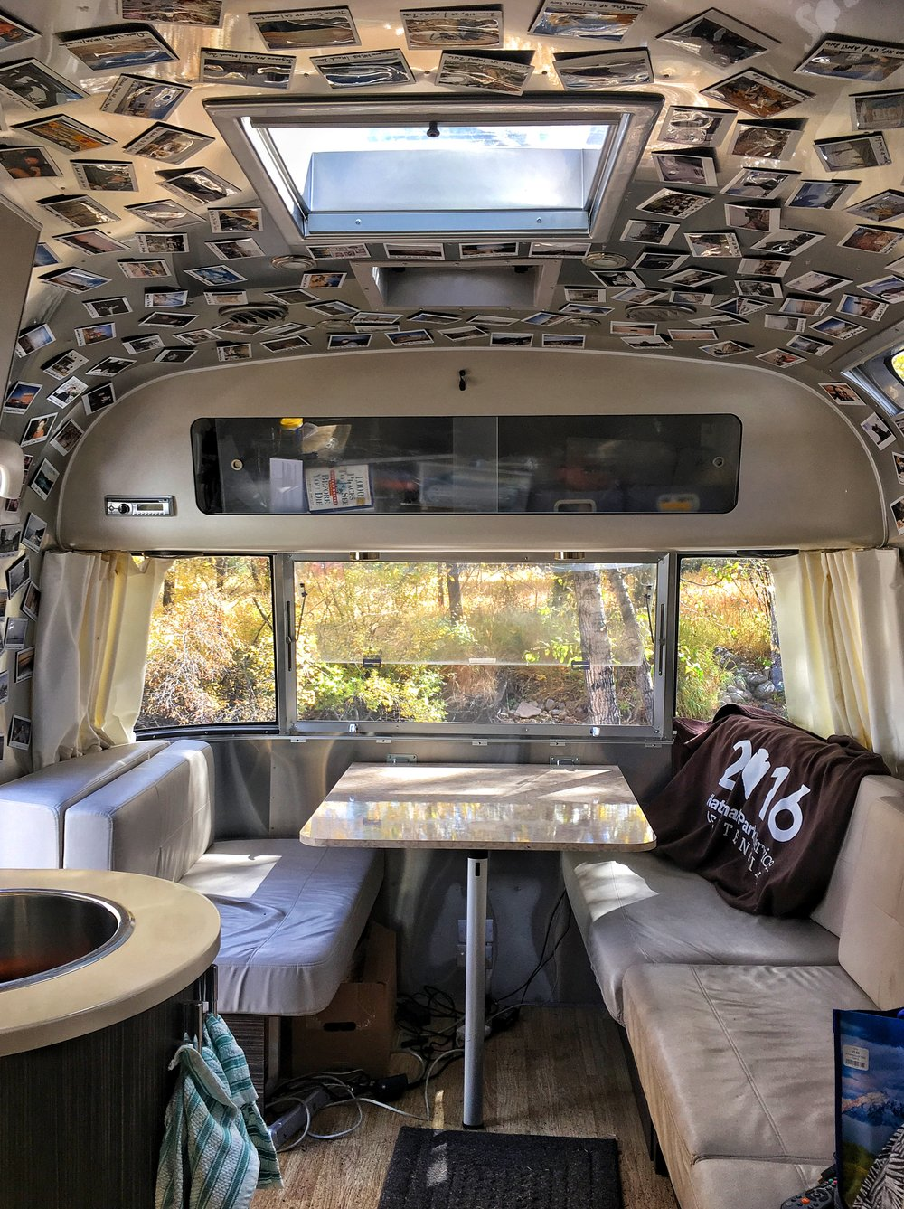 Inside Wally the Airstream! We decorated the cieling with Fujifilm Instax. Photo credit: Stefanie Payne