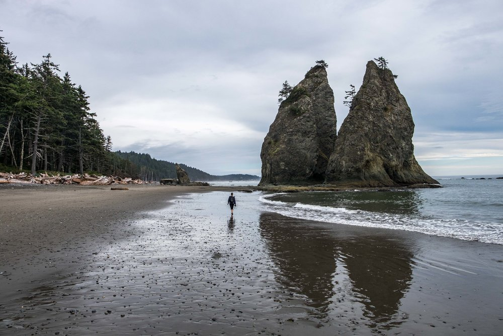 High on life on Rialto Beach. Our good pal Mike hams it up with sea-stacks in the background.