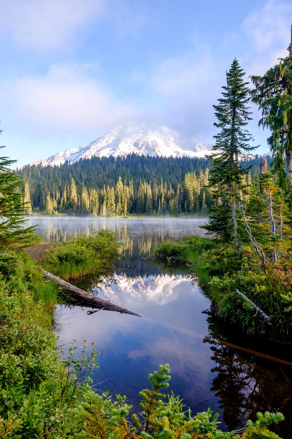 Mount Rainier mirrored in Reflection Lakes in the Paradise area of the park.
